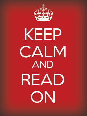 Red graphic with crown and the words Keep Calm and Read On