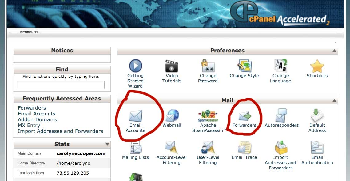 CPanel Email Options showing  different various email services offered include email accounts and email forwarders