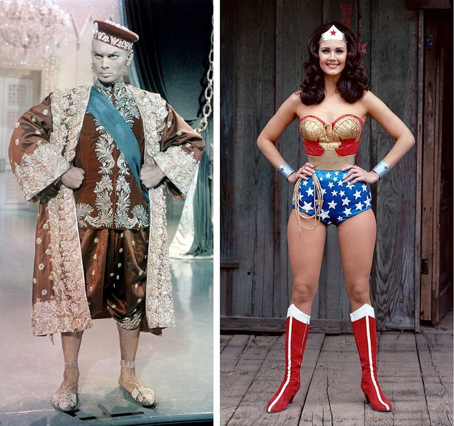 The King of Siam and Wonder Women standing in legs apart, arms akimbo in a common power pose.