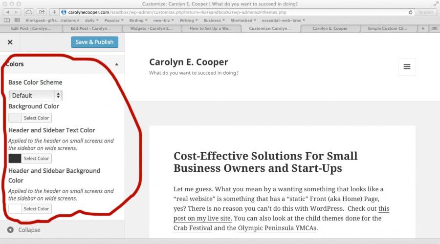 Wordpress Admin for the Twenty Fifteen theme customizer color options.