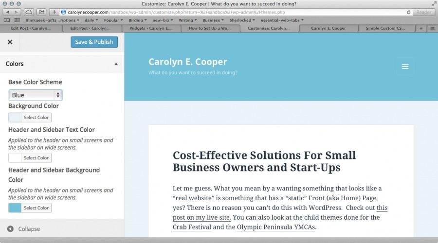 Wordpress Admin color scheme Blue for Twenty Fifteen theme