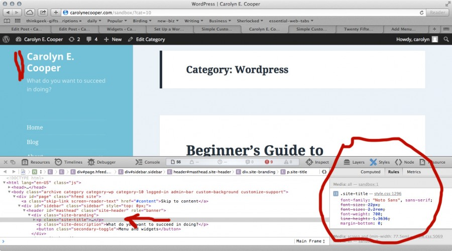 Using the browser developers' tool to see the CSS for the site title font family.