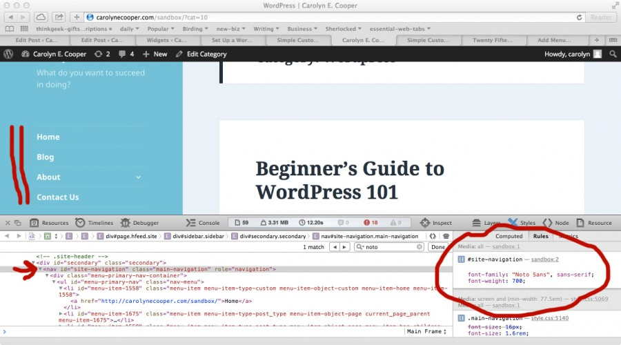 Identifying the CSS tag for the site navigation using the browser developers tool